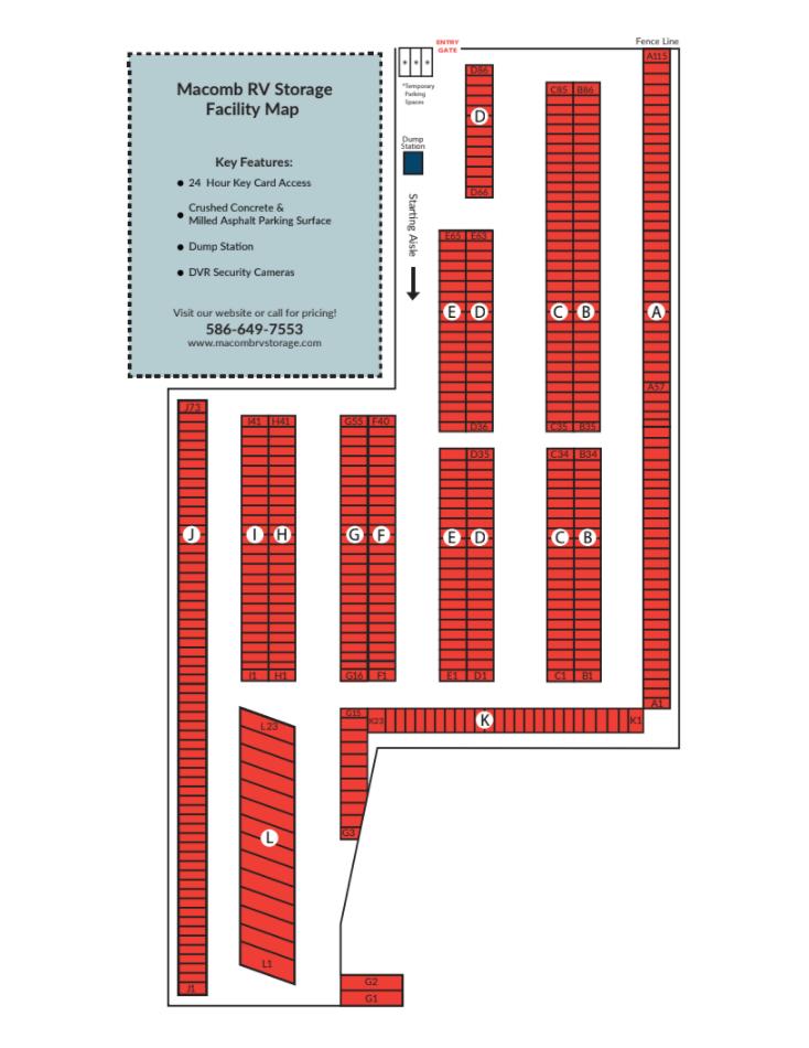 Macomb RV Storage Lot Map